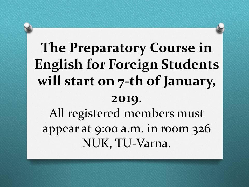 Preparatory Course in English Language